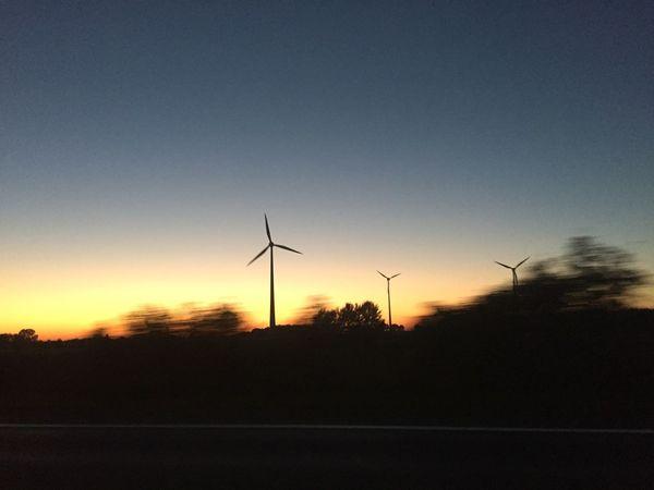 Alternative Energy Calm Clear Sky Dark Environment Landscape Majestic Outdoors Silhouette Sunset Tree Wind Turbine Windmill