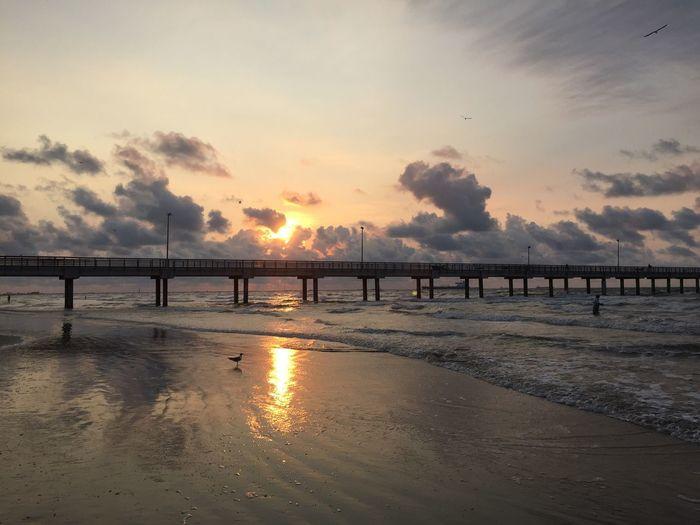 Texas sunrise Waves Seascape Beach Pier Texas Texaslife Texas Sunrise