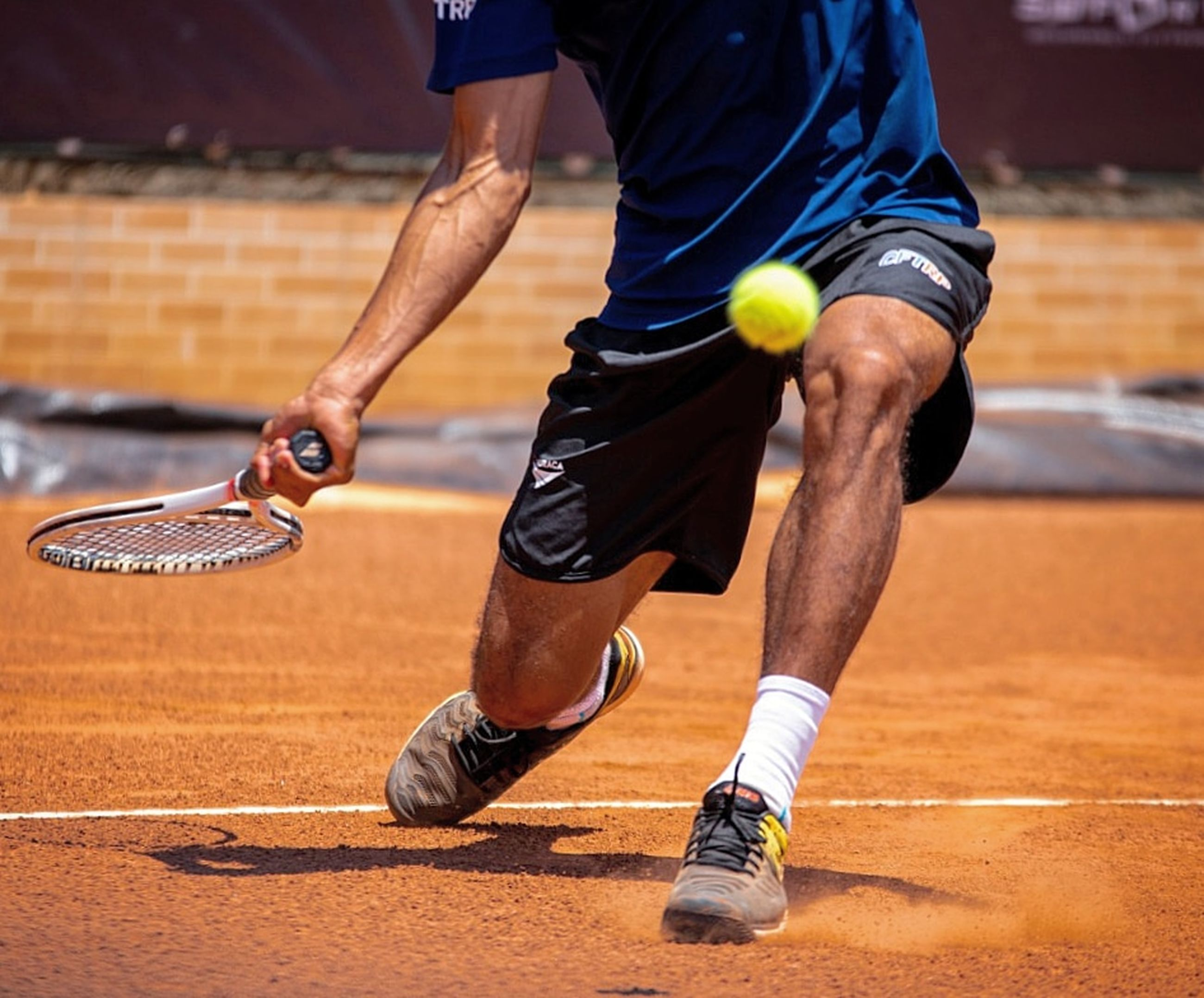 sport, athlete, playing, motion, competition, men, ball, court, competitive sport, one person, activity, vitality, lifestyles, exercising, sportsman, real people, clothing, holding, human body part, skill, tennis racket, hitting