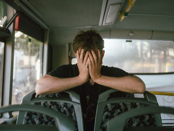 Depressed Man In Bus