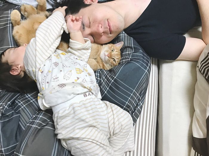 Family Cat Real People Two People Togetherness Indoors  Lifestyles Bonding This Is Family This Is Family