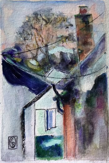 View from my window 6x4 Watercolour Surrey Artists'Open Studio for Chertsey Artist, 19 artists taking part at 6a Windsor Street Chertsey kT16 8AS from 11to12 and 18to19 June opening from 11am to 5pm Check This Out The Purist (no Edit, No Filter) ArtWork Watercolour The Purist ( No Edit, No Filter )