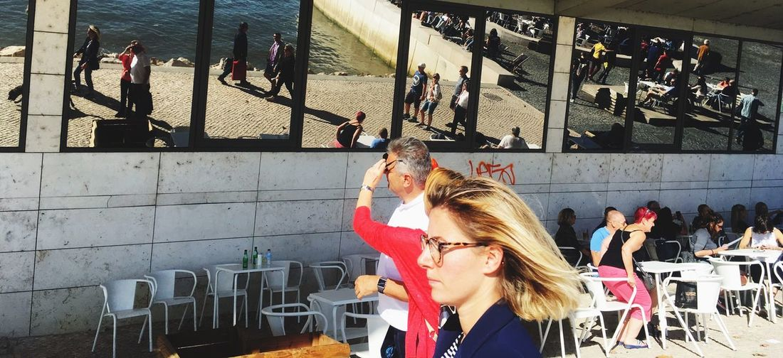 Sunday Sunnyday Positive Get Away People Day Women Outdoors Reflection Lisbonlovers Lisbon By The River Lisboa Portugal Standing Young Adult Wom People Looking Street Mirror Adventures In The City