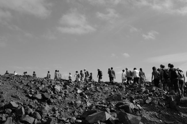 Blackandwhite Day Group Of People Large Group Of People Nature Outdoors People Procession Real People Sky Volcanic Landscape Volcano Walking