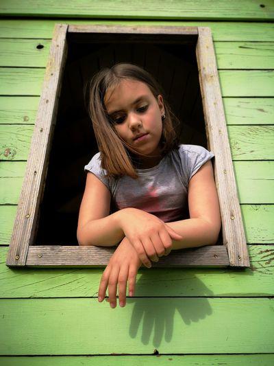 Child Childhood Girls Pleading Portrait Summer Close-up