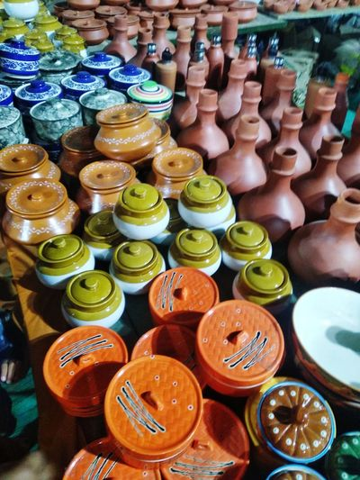 High angle view of pots for sale at market