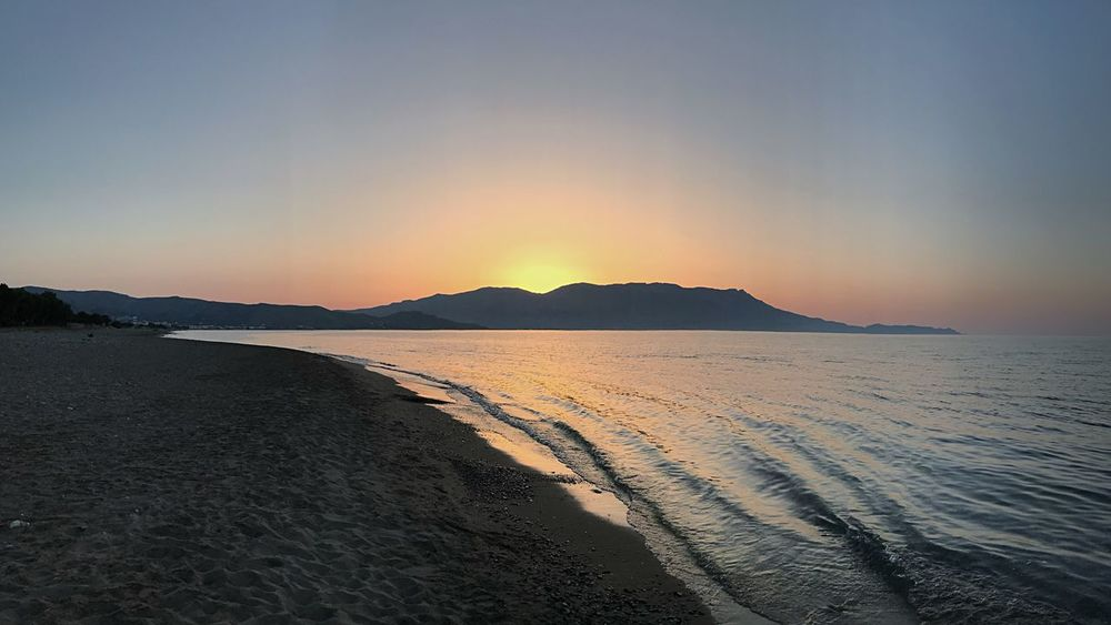 Kissamos Water Sky Sunset Sea Beauty In Nature Beach Scenics - Nature Tranquility Tranquil Scene Land Nature Idyllic No People Sand Mountain Horizon Romantic Sky Sunlight