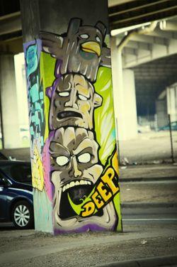 Dallas Deepellum Street Art Totem Pole