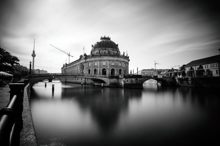 Architecture Berlin Bodemuseum Bridge - Man Made Structure Building Exterior Built Structure City Connection Day Dome History Long Exposure No People Outdoors Reflection Religion River Sky Spirituality Spree Travel Destinations Water