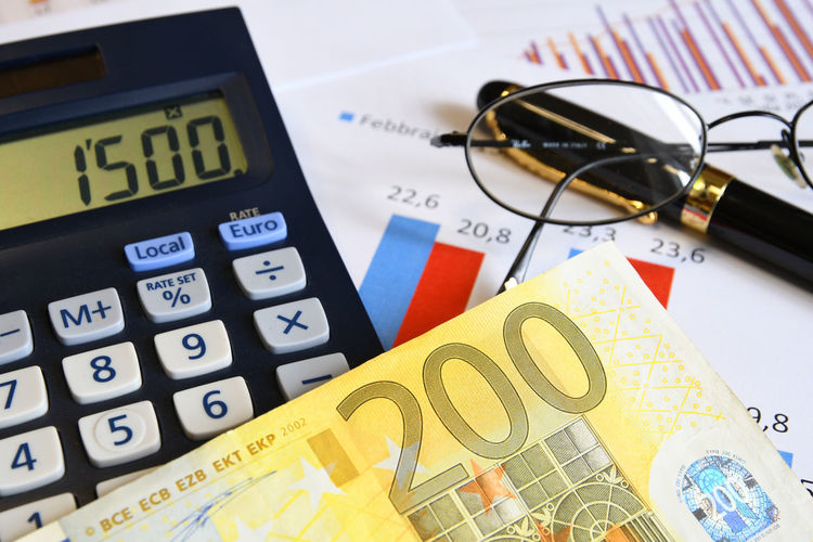 Business and finance concept. Borsa Di Milano Currency Economy Graphic Office Business Business Finance And Industry Businessman Calculator Dollars💲 Euro Money Finance Finance And Economy Glasses 👓 Graphs Instruments Keyboard Monochrome Number Numbers Paper Pen Stilo Style Table