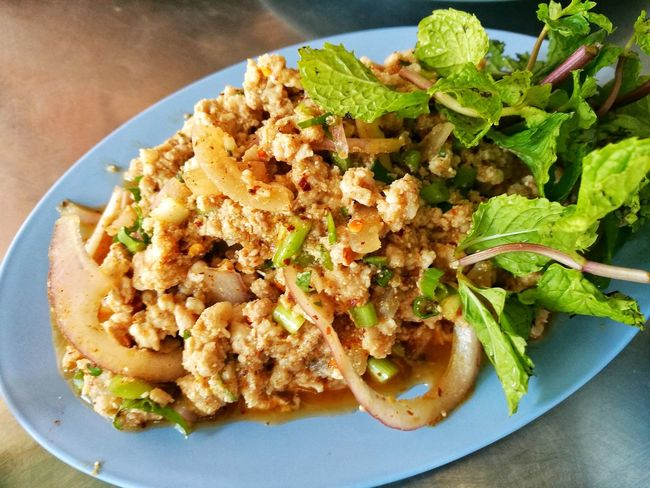 Plate High Angle View No People Food Food And Drink Freshness Close-up Healthy Eating Ready-to-eat Indoors  Thaifood Food And Drink Thai Food Thaistyle Groundpork Larb Larbmoo Spicy Food