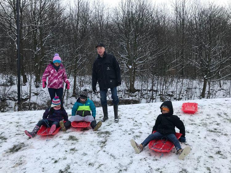 Amelia Miah Adam Miah Winter Cold Temperature Snow Warm Clothing Sled Childhood Child
