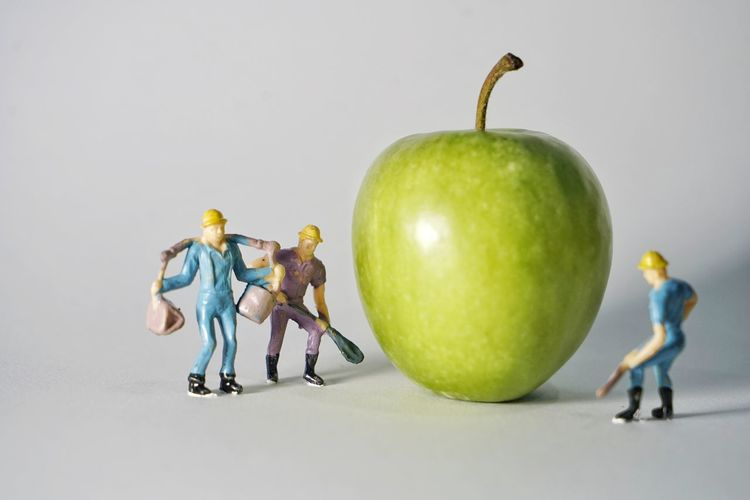 Studio Shot Indoors  Fruit Healthy Eating Apple - Fruit Food Representation Food And Drink White Background Full Length Group Of People Wellbeing Human Representation Green Color Still Life Male Likeness People Cut Out Close-up Variation