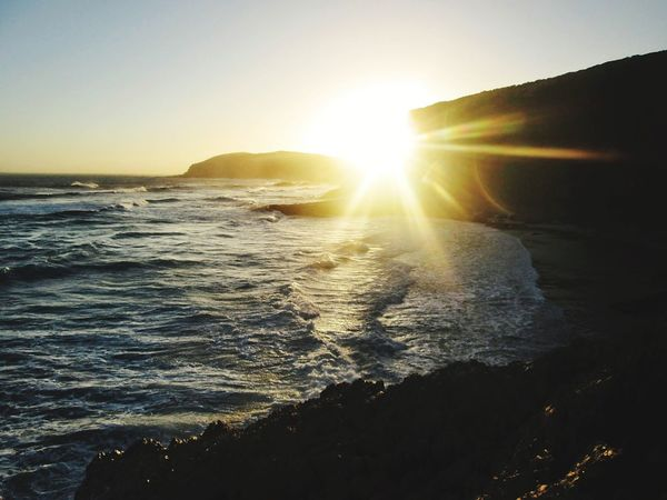 Sunset Sunlight Sun Sea Nature Outdoors No People Travel Beach Beauty In Nature Travel Destinations Landscape Scenics Sky Water Vacations Day Wave EyeEmNewHere South Africa Clear Sky Lost In The Landscape