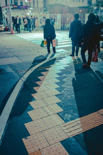 City Real People Street Group Of People Walking Architecture Men Rear View Lifestyles City Life Shadow Road