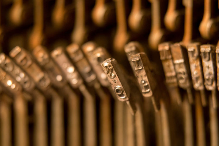 Close-up Communication Full Frame Macro Metal Selective Focus Type Type Hammer Typewriter