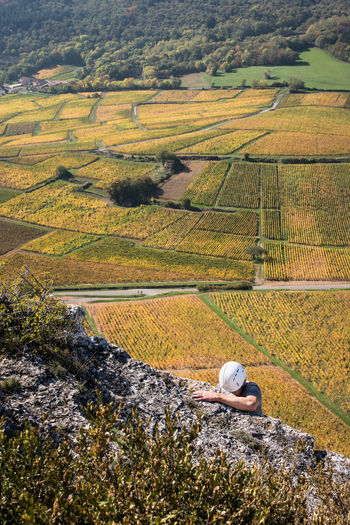 Agriculture Nature High Angle View Outdoors Day Field Beauty In Nature Scenics Landscape Rural Scene People Real People One Person Human Body Part Human Arm Climbing Helmet Protection Sport Healthy Lifestyle Leisure Activity Autumn Effort Top