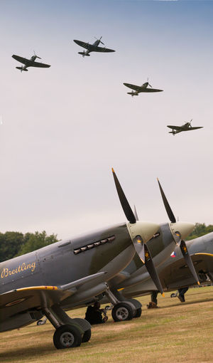 R.A.F. Biggin Hill , 75th Anniversary Battle of Britain Aerospace Industry Air Force Air Vehicle Airplane Battle Of Britain Battle Of Britain Flight Battle Of Britain Memorial, Capel-le-Ferne Biggin Hill Day Fighter Plane Flying Formation Flying Horizontal Hurricane Military No People Outdoors Pilot Royal Air Force Royal Air Force Memorial Spitfire Stealth Teamwork Transportation Vivid International