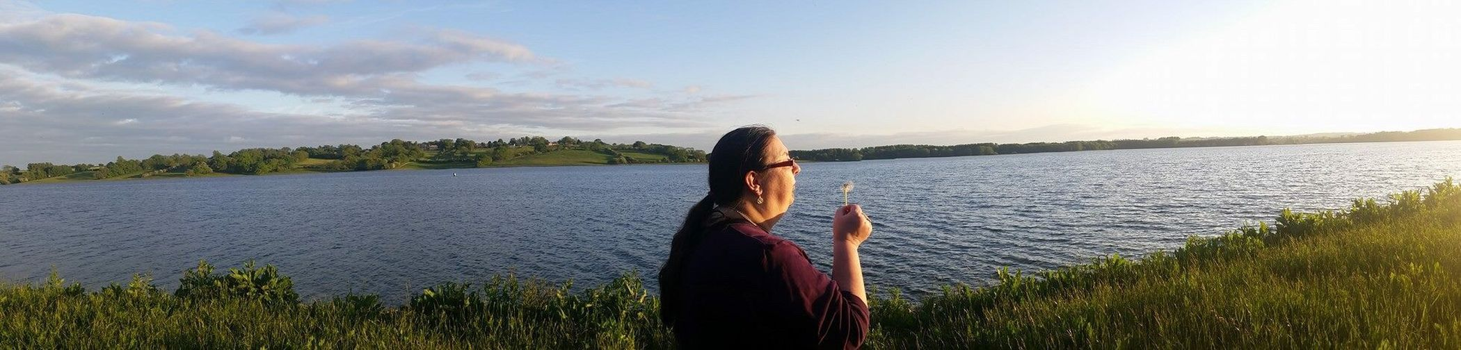 Standing Three Quarter Length Water Long Hair Person Tranquility Sky Tranquil Scene Nature Beauty In Nature Sun Panorama Panoramic Panoramic Photography Panoramic View Panoramic Landscape Landscape Landscape_Collection Rutland Water Rutland Reservoir
