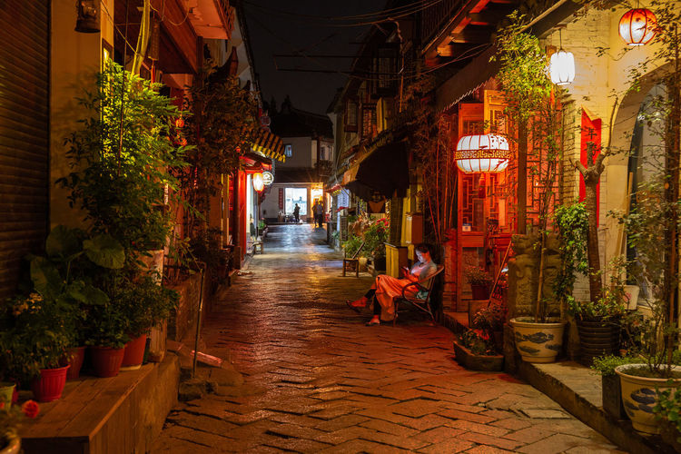 Alley Architecture Built Structure Building Exterior Incidental People Real People Street Women The Way Forward Building Illuminated Adult Men People Direction Lifestyles Walking Lighting Equipment Sitting Night Shop Zhujiajiao Ancient Village