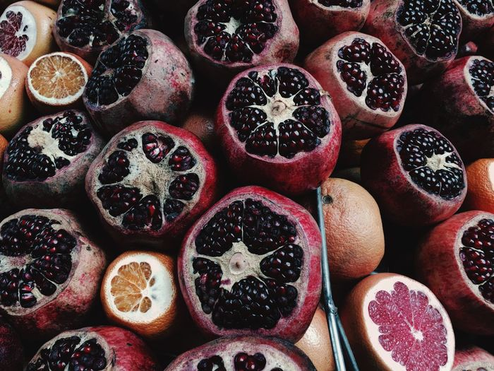 Full frame shot of pomegranates at market