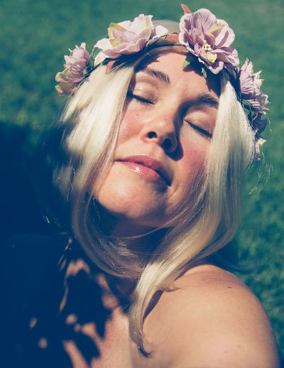 Alive  Eyes Closed  Natural Nature Serenity Woman Bare Shoulders Blond Hair Day Flower Flowers In Her Hair Fresh Hippie Nature One Person Outdoors Outside Peaceful Person In Nature Pink Flower Portrait Relaxed Spring Young Adult