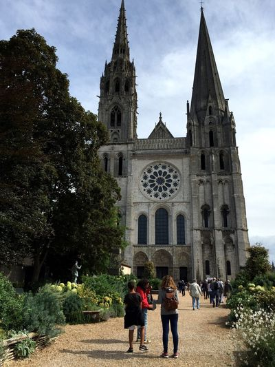 Architecture Building Exterior Built Structure Cathedral Chartres Church Famous Place France French History Large Group Of People Lifestyles Men Person Place Of Worship Religion Sky Spirituality Tourism Travel Destinations