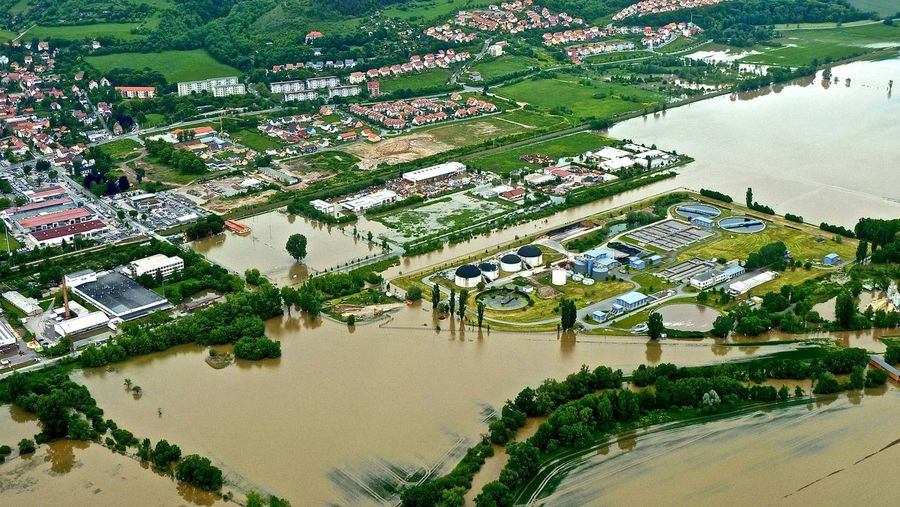 High angle view of town during flood