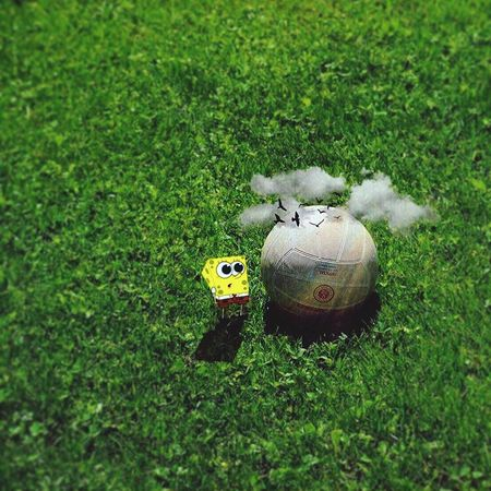 Green Color Grass No People Sport Nature Land Day Field High Angle View Ball Outdoors Representation Creativity Toy Sunlight Green