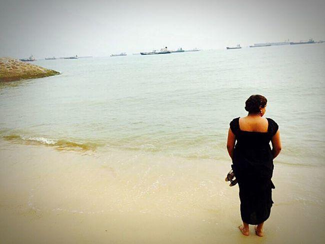 Summer Views Seaside Seashore Beach Girl Black Dress Summer Sunshine Enjoying The Sun