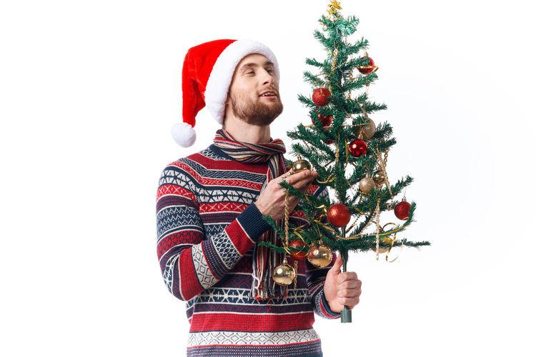 Full frame shot of christmas tree against white background