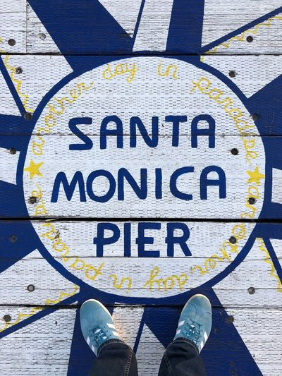 …at #SantaMonicaPier! Pier Looking Down Communication Sign Text Human Leg Low Section Body Part Human Body Part Personal Perspective Standing