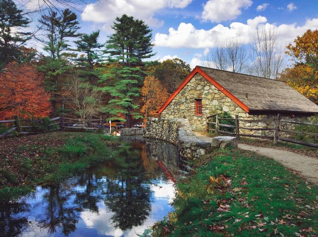 Autumn Afternoon at a old Griss Mill Water Tree Built Structure Reflection Sky Architecture Building Exterior Outdoors No People Watermill Nature Day Beauty In Nature