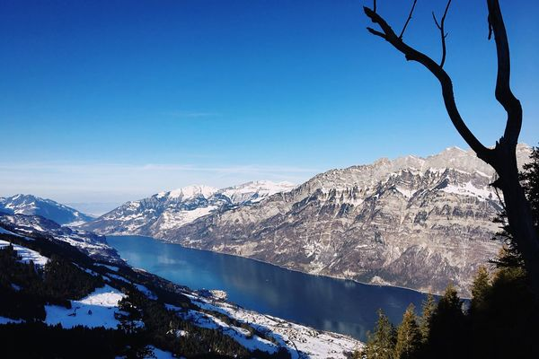 Mountain Blue Beauty In Nature Nature Tree Clear Sky Outdoors Sky Landscape EyeEm Nature Lover Beautiful Day Lake Switzerland Winter Water Adventure Mountain Peak