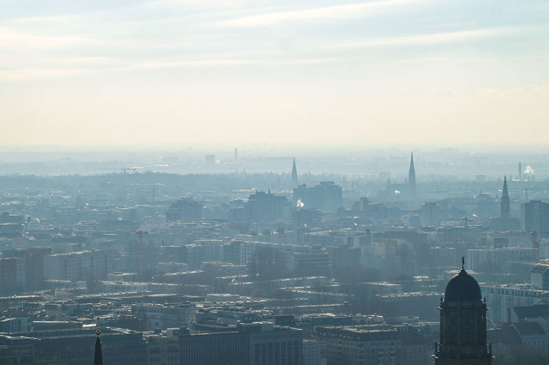 foggy panorama of Berlin Building Exterior Architecture Built Structure City Cityscape Building Sky No People Nature Office Building Exterior Fog Skyscraper Tower High Angle View Travel Destinations Cloud - Sky Outdoors Spire  Berlin