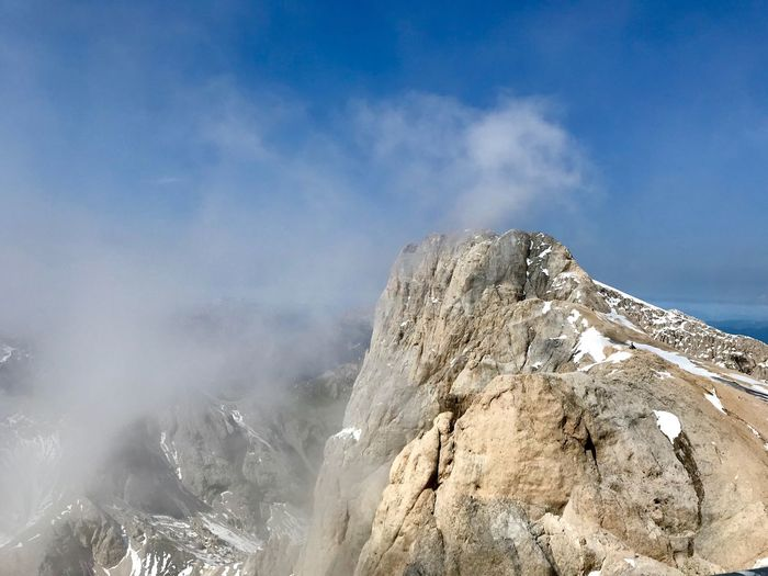Dolomites, Italy Sky Mountain Cloud - Sky Beauty In Nature Rock Scenics - Nature Nature Environment Landscape Cold Temperature Tranquil Scene Day Non-urban Scene Snow Geology Physical Geography Rock - Object