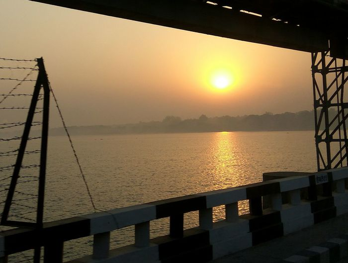 Water Railing Sky River Outdoors Tranquility Nature No People Sun Beauty In Nature Bridge - Man Made Structure Scenics Horizon Over Water Day Sunrise EyeEmNewHere EyeEmNewHere