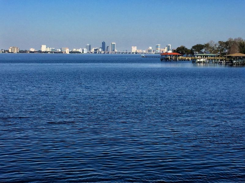 Skyline of Jacksonville, Florida. Skyline Cityscape St Johns River Docks Architecture Water City Building Exterior Built Structure Waterfront No People Clear Sky Sky Outdoors Day Nautical Vessel Beauty In Nature Urban Skyline