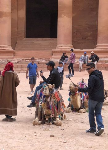 Hanging out at the Treasury at Petra, Jordan Travel Photography Petra, Jordan Petra Camel EyeEm Selects Built Structure Men Architecture Group Of People People Real People Travel