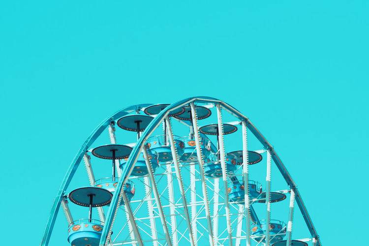 Amusement Park Amusement Park Ride Arts Culture And Entertainment Big Wheel Blue Built Structure Clear Sky Copy Space Day Ferris Wheel Low Angle View No People Outdoors Sky