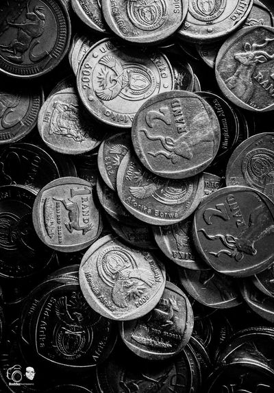 IPhoneography Finance Large Group Of Objects Full Frame Close-up No People Coin Currency Backgrounds Rands