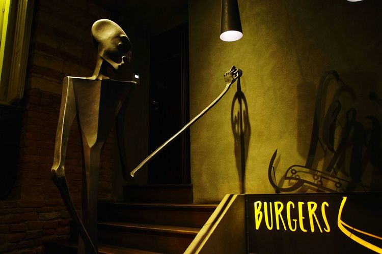 Indoors  No People Burgers Hungry Skeleton Burger Time Food Light And Shadow Lights Night Friends
