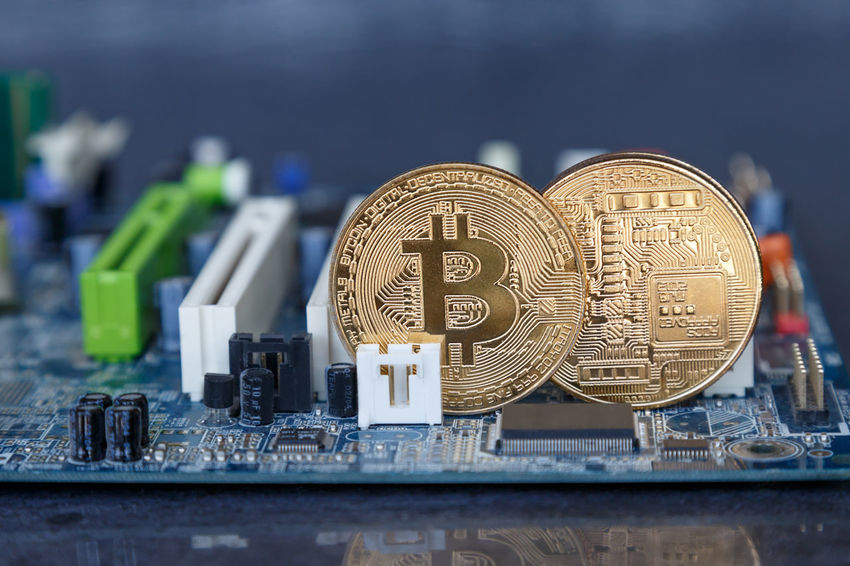 gold coins with the symbol of bitcoin Business Currency E-commerce Economy Gold Investing in Quality of Life Virtual Bitcoin Blockchain Circuit Board Coin Cryptocurrency E-business Exchange Farming Finance Financial Keyboard Mining Monetary Money Network Symbol Technology Web