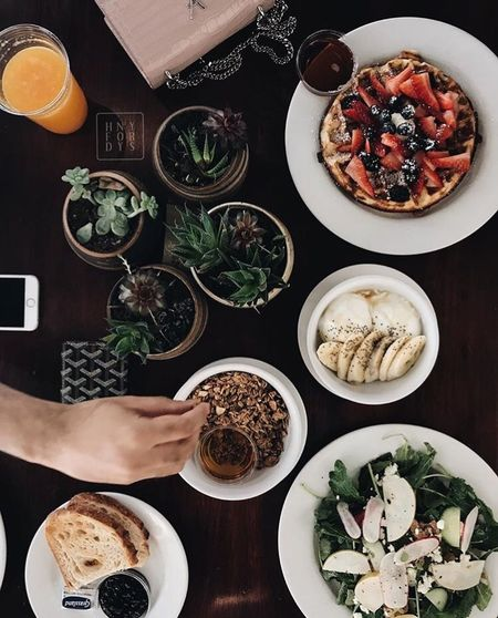 Brunch Food And Drink Directly Above Table High Angle View Plate Human Hand Food Modern Workplace Culture