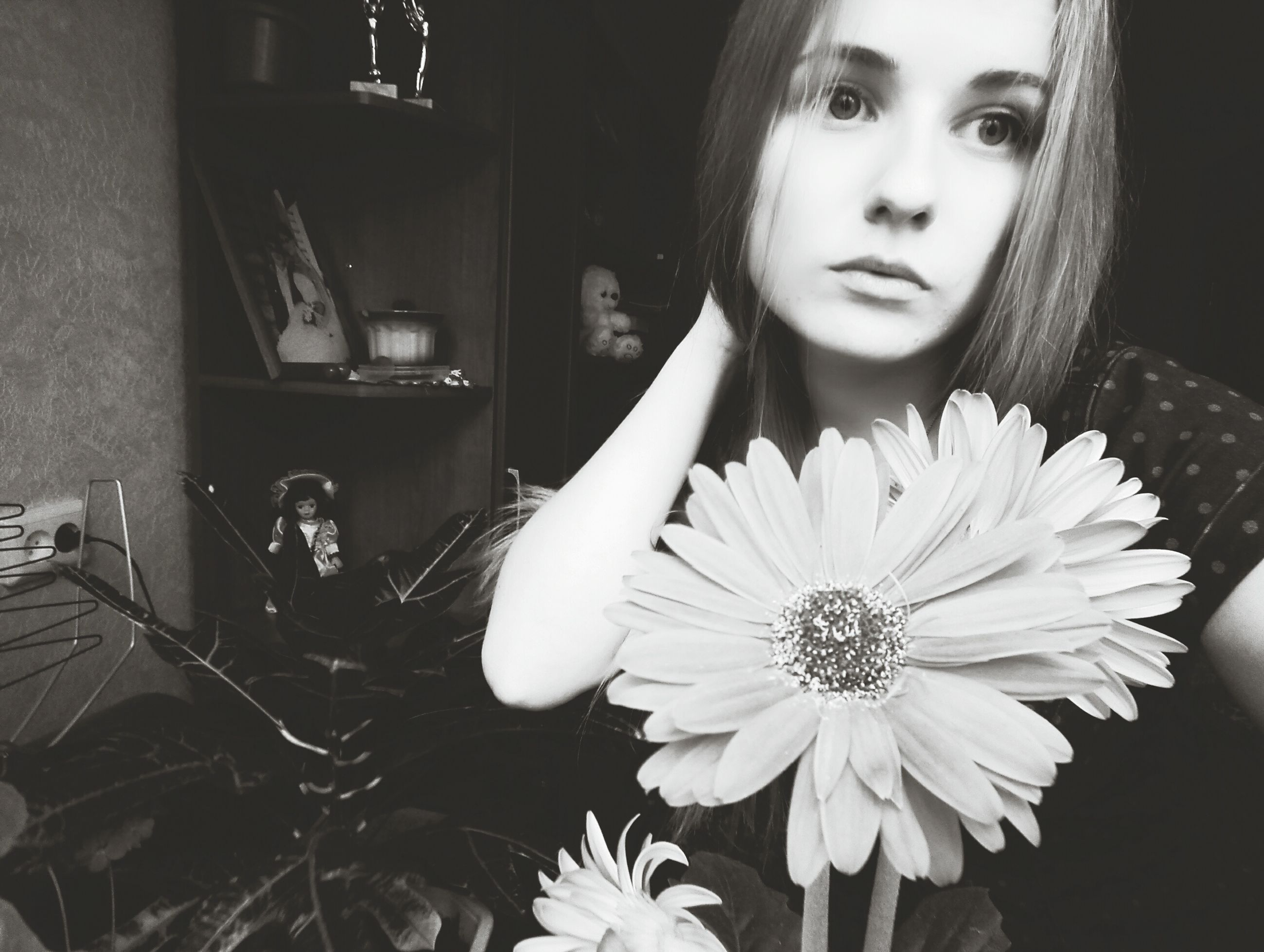 young adult, young women, person, flower, indoors, front view, looking at camera, lifestyles, portrait, casual clothing, holding, leisure activity, freshness, long hair, close-up, home interior, fragility