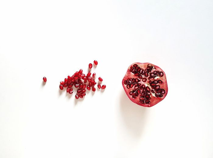 Healthy Eating Photooftheday Picoftheday The Week on EyeEm Healthy Food White Background Pomegranate Red Studio Shot Pomegranate Seed Prepared Food Fruit