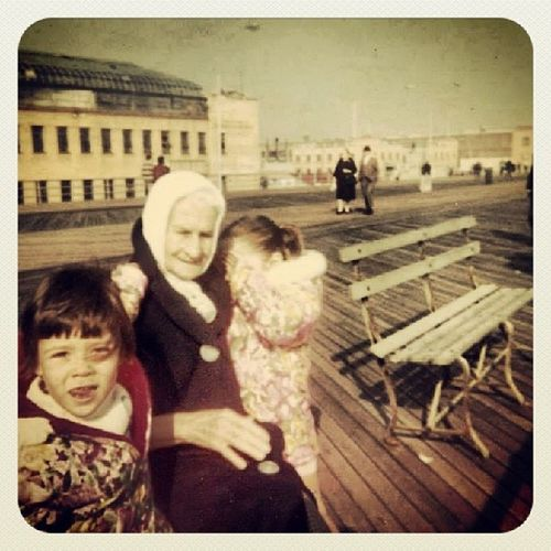 Circa 1967 photo of me, my little sister and great grandmother on the Coney Island boardwalk...we lived there on West 28th street and Surf avenue Coneyisland Coneyislandboardwalk 1960s Brooklynnyc brooklyn vintagephoto throwbackthursday throwback boardwalk Nostalgia Granny 60s