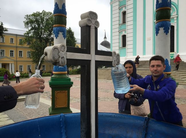 Pilgrims getting holy water from a spring at the Trinity Lavra of St Sergius in Sergiyev Posad Streetphotography Rus2015tc Traveling Church