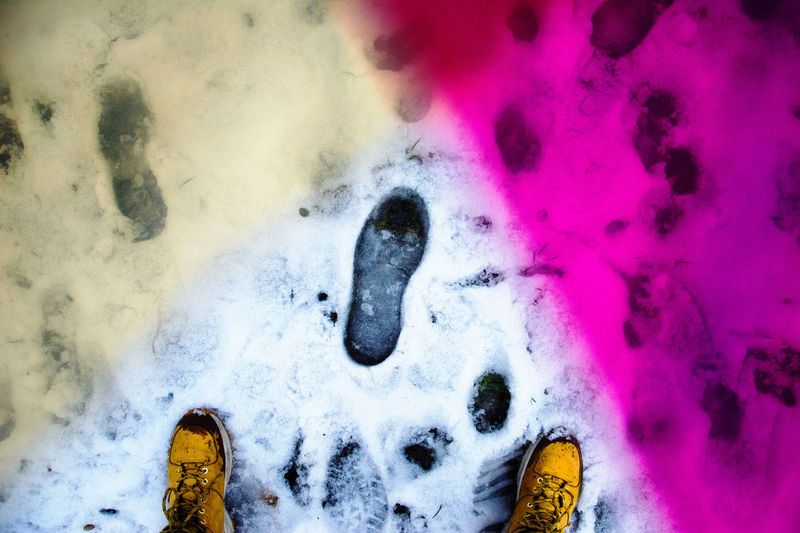 Abstract Photography Art Cold Color Filter Footsteps Mark Market Photography POV Shoes Sign Snow