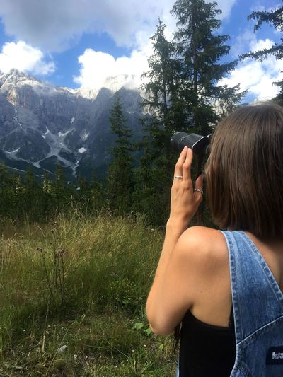 Austria Blue Sky Field Glasses Mountain Range Woman Binoculars Austria Mühlbach Hochkonig EyeEm Selects One Person Plant Leisure Activity Activity Rear View Nature Day Tree Outdoors Sky
